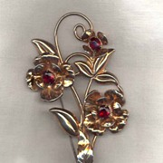 Sterling Retro  Floral Brooch