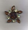 Topaz and Citrine Rhinestone Brooch