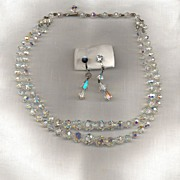 Aurora Crystal Beaded Necklace with Earrings