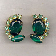 Stunning D&E aka Juliana Emerald/Peridot Earrings