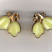 Trifari Dogwood Pale Yellow Glass Earrings
