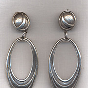 "Berebi Silvertone ""Mod Squad"" Drop Earrings"