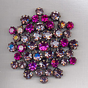 Fuchsia and Lavender Rhinestone  Brooch