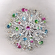 White Floral Japanned Brooch with Pastel Stones