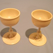 Pair of Antique Anglo Indian Ivory Goblets. Circa 1900