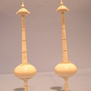 Pair of Antique Anglo Indian Islamic Ivory Rose Water Sprinkler. Circa 1900