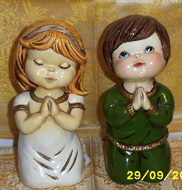 Vintage Praying Children Figurines By  Star Of Japan  Hand Painted