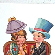 Valentine Couple..Boy In Top Hat / Girl With Parasol..Germany..Antique Paper Scrapes..Ephemera