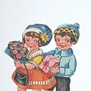 Antique Valentine Couple Ephemera..Girl With Flowers / Boy With Pink Box..Die-Cut..Embossed..G