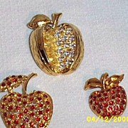 Set Of 3 Rhinestone Apple Pins..For Teacher's Holiday Gift. Well Priced