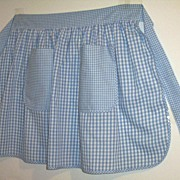 Vintage Blue And White Gingham Checked Hostess Apron...Large Size