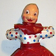 1940's  Baby Toy Stuffed Doll Covered In Polka Dot Plastic Sheeting