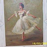 Vintage ..Ballerina Oil In White Double-Tiered Carved White Wood Frame..Signed Vivian Key..A N