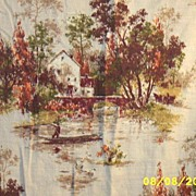 Vintage..Barkcloth Country Scenic Drapes..Autumn Colors..2 Panels Available