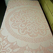 Full Size Bright Pastel Pink Chenille Bedspread with Fringe..Excellent Vintage Condition!