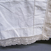 Light Weight Silky Muslin Top Bed Sheet With Mercerized Cotton Crochet Boarder..Queen...NOS..2