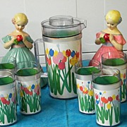 RETRO..1960's Insulated Plastic Beverage With Bright Tulips..Thermo Serve By Audrey..Pitcher &