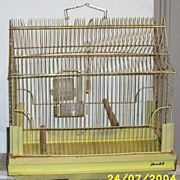 SALE Retro Yellow Wire And Enamel Bird Cage Marked J Tametal