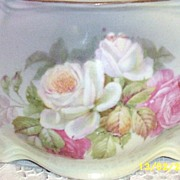 SALE Vintage German Rose Nosegay  Biscuit Or Cracker Jar..Signed Germany