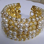 Cuff Bracelet Of Faux Pearls / Rhinestones / Bright Gilt..New Condition!