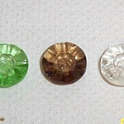 Vintage Clear  Buttons.. Pressed Glass.. A Ruffled Design..Colors: Clear..Tortoise..Green