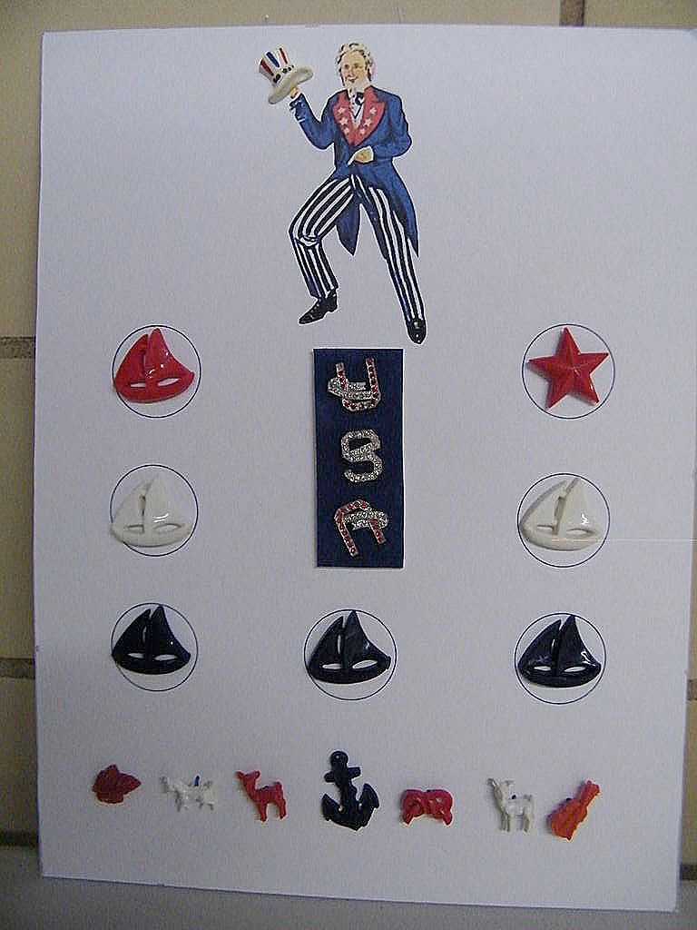 UNCLE SAM Collector Button Card With Rhinestone USA Buttons..Plus Hat..& Sailboats.. Anchor..Animal Buttons!