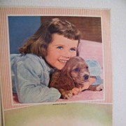 Calendar Backs..Set Of 2..Little Girl With Puppy..Girl Holding Hymn Book..1965....A ...