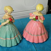 Mid-Century Pair Of Colonial MY FAIR LADIES  Figurine Pottery In Jordan Almond Colors..Pink ..