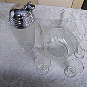 Cambridge Glass Bar Set:..Cocktail Shaker.. Ice Bucket..Glasses..Set