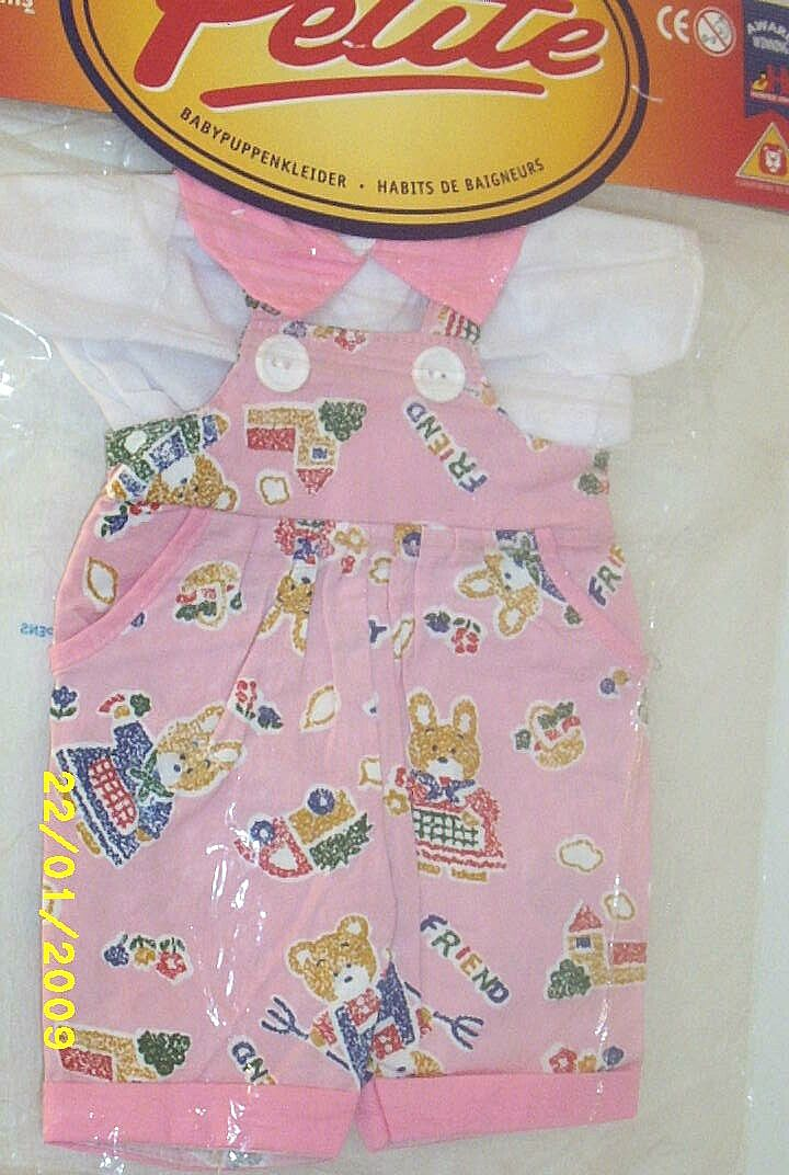 "DOLL Clothes..Pink Bunny Printed Overalls & White Blouse With Pink Collar...New Condition..Fits 14"" - 16"" Doll"