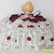 Vintage...Half-Doll Vanity Powder Box..Bisque Face..Lace Dress With Satin Rosettes