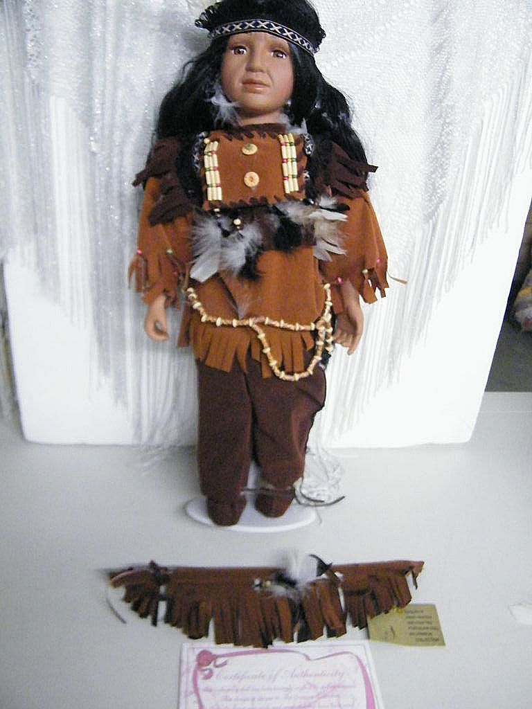 Boy Doll Native American Indian Handcrafted Porcelain