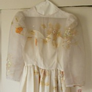 Fairy Princess...Organdy Wedding / Formal Dress..Organdy..Cream...Applique.Long Sleeves..Gathe