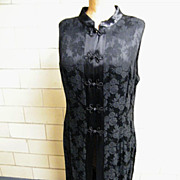 Chinese Long Evening Dress Or Loungewear..Black Damask..Side Slits..Rayon / Acetate..Size 17/1