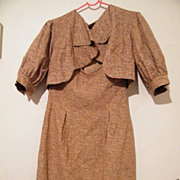 Designer 2 Piece  Textured Woven Silk Strapless Dress & Bolero Jacket..Semi Formal..Mad Cordes