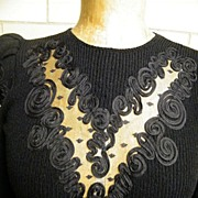 1960's  Black Boucle Sweater Dress By Pat Sandler For Wellmore..Floral Ribbon On Net ...