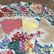 Vintage Decorator Samples..Cotton Sateen..Wallpaper Stripe Bouquet..Set Of 4
