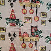 Vintage..40's-50's Acetate Taffeta Fabric With Kitchen Motifs Print..2 Pieces..New ...