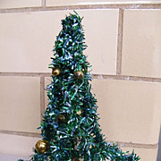 Mid-Century Green Foil Christmas Tree ..8&quot;.Decorated With Gold Glass Balls..Japan