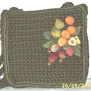 Vintage..Dark Pea-Green Crocheted Shoulder Purse With Textured Fruit Corsage