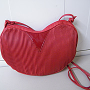 RED HEART Leather & Patent Coret Of Canada Purse Handbag..Tucked Leather..Shoulder Strap..New