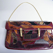 Mid-Century CAPRICE Snakeskin Patchwork Clutch Handbag With Gold Chain Strap..Excellent Condit