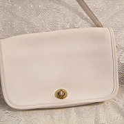 Small White Leather Envelope Style..Removable Straps..2 Compartments & Inside Pocket
