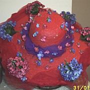 Red Hat Society Red Straw Shabby Chic Picture Hat With Hydrangeas