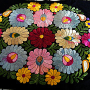 Very Vintage Hungarian Matyo Silk Hand Embroidered Floral Fabric