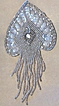 Vintage..Iridescent Spade Shaped Emblem / Applique Of Sequins & Bugle Beads...