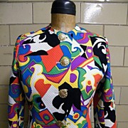 ABSTRACT Screen Printed Woven Pique Jacket By GIVENCHY Couture Paris..Made In France..Excellen