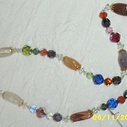 "SALE Assorted Austrian Beaded  23 1/2"" Necklace With Semi -Precious Stones"