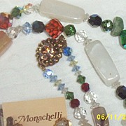"Designer.. Monachelli..35"" Semi-Precious Stones And Mixed Austrian Faceted Beaded Necklac"