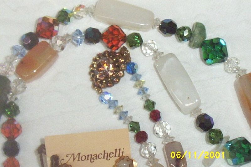 "Designer.. Monachelli..35"" Semi-Precious Stones And Mixed Austrian Faceted Beaded Necklace"